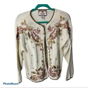 TIARA grandma ivory floral embroidered sweater M